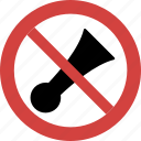 horn blocked, horn forbid, horn illegal, horn not allowed, horn prohibition, no horn, stop horn icon