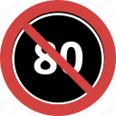 block, forbid, no 80 speed, not allowed, stop, stop 80 speed icon