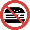 burger blocked, burger forbid, burger illegal, burger not allowed, burger prohibition, no burger, stop burger icon