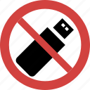 no usb, stop usb, usb blocked, usb forbid, usb illegal, usb not allowed, usb prohibition icon