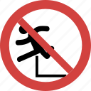 jump blocked, jump forbid, jump not allowed, jump prohibition, no jump, stop jump icon