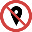 ban, block, map pin, no, prohibition, sign, stop icon