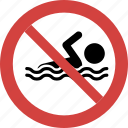 swimming prohibition, ban swimming, stop swimming, swimming not allowed, swimming forbid, swimming illegal icon