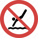 ban jump dive, jump dive forbid, jump dive illegal, jump dive not allowed, jump dive prohibition, stop jump dive icon