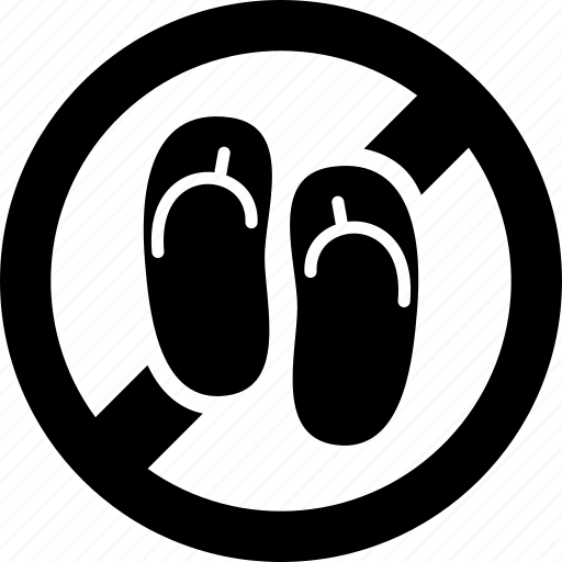 footwear, forbidden, prohibited, sandals icon