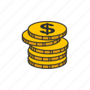coins, currency, dollar coin, money icon