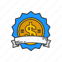 award, badge, dollar badge, dollars icon