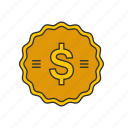 coins, dollar coin, dollars, money icon
