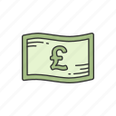 bill, british pound, cash, currency icon