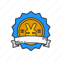 badge, currecny, japanese symbol, yen icon