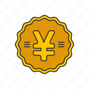 coins, currency, money, yen icon