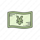 bill, cash, japanese money, yen icon