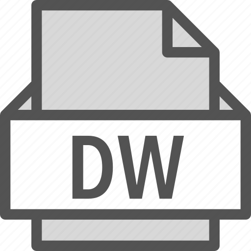 dw, extension, file, folder, tag icon