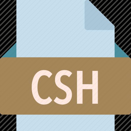 csh, extension, file, folder, tag icon