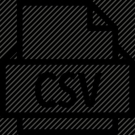 csv, extension, file, folder, tag icon