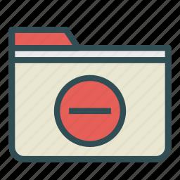 computer, folder, minus, pc, remove, sign icon