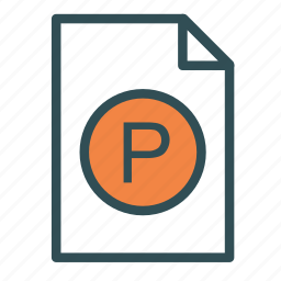 extension, file, p, pascal icon