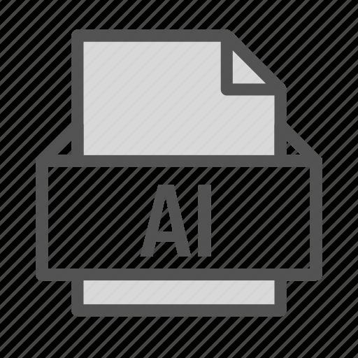 adobe, ai, computer, extension, file, illustrator, pc icon