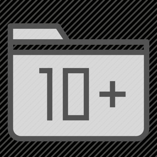 add, computer, folder, number, pc, plus, ten icon