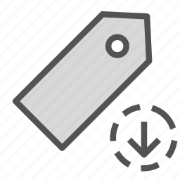 arrow, down, download, sign, tag icon