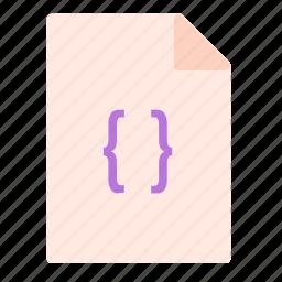 brackets, code, computer, file, pc icon