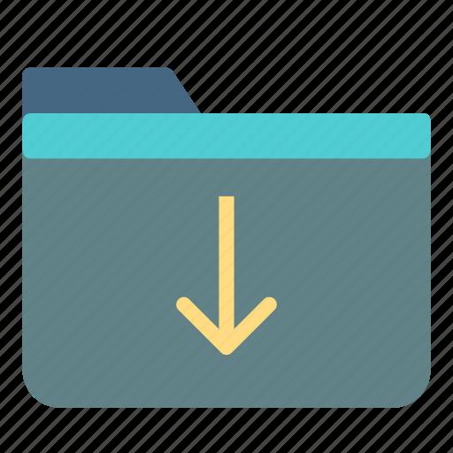 arrow, computer, down, download, folder, pc icon