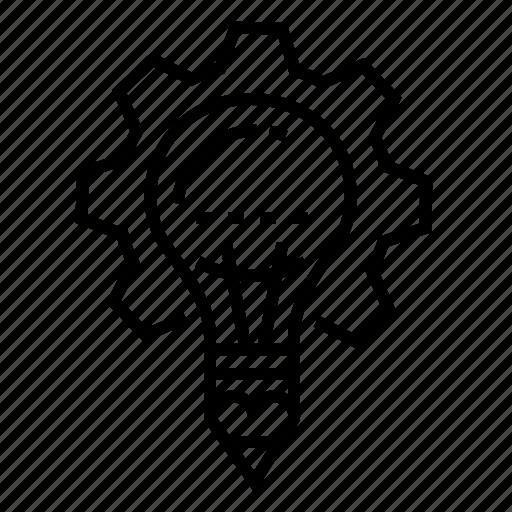 bulb, cog, creativity, idea icon