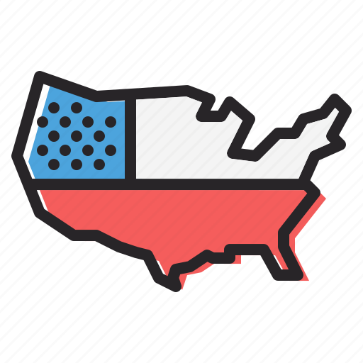 america, american, independence day, july 4, map, united states, us icon