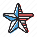america, american, flag, independence day, july 4, star icon