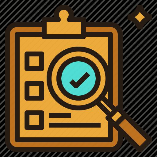 check, evaluation, list, research, search icon