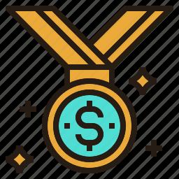 business, goal, medal, money, winner icon