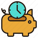 business, piggybank, save, time icon