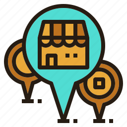 chain, location, map, pin, store icon