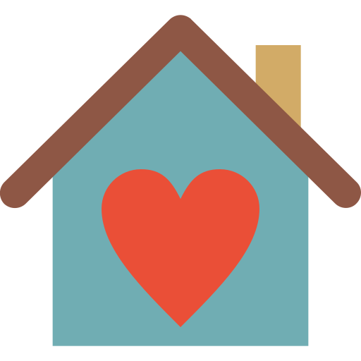building, heart, home, house, love, of icon