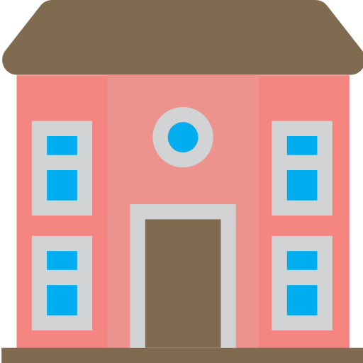 circle, front, house, huge, view, windows, with icon