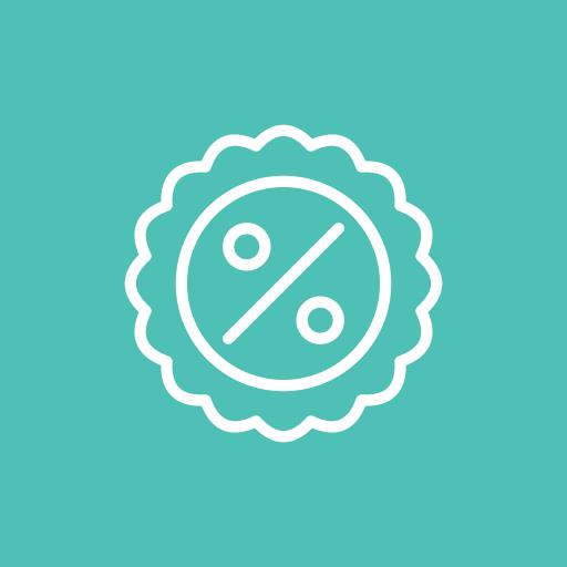 award, badge, procent icon
