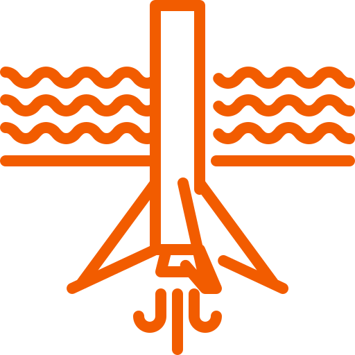 falcon, landing, ocean, rocket, water icon