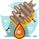 bee, drop, health, hive, honey, honey dipper, yumminky icon