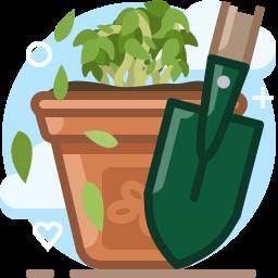 bio, garden, gardening, plant, pot, scoop, yumminky icon