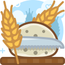bread, cutting, food, knife, rye, wheat icon