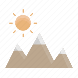camping, hills, mountains, nature, outdoor, sun, travel icon