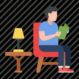 man, hobby, free time, habbit, book reading, lamp, sitting