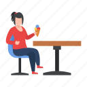 woman, eating, ice cream, cone, table, female, hobby