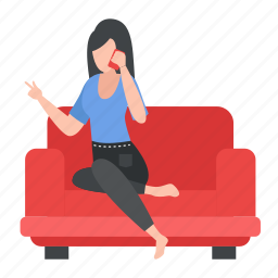 female, woman, gossips, cellphone, sofa, couch, sitting