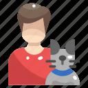 animal, avatar, boy, cat, people, pet