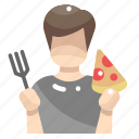 boy, eat, eating, food, people, pizza