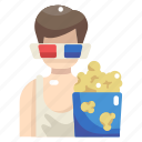 3d glasses, cinema, entertainment, food, movie, popcorn, snack icon