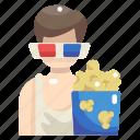 3d glasses, cinema, entertainment, food, movie, popcorn, snack