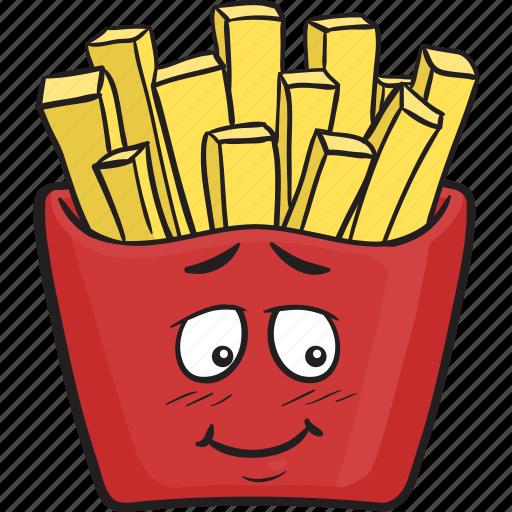 cartoon, emoji, fast, food, french, fries, fry icon