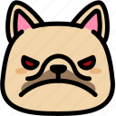 angry, emoji, emotion, expression, face, feeling, french bulldog icon
